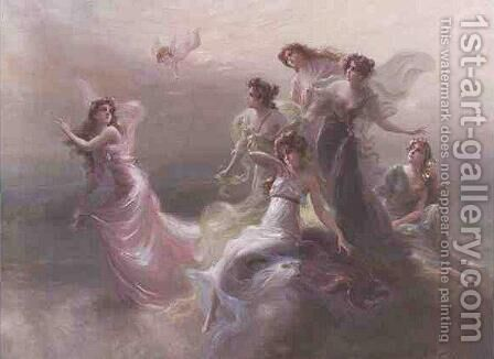 Goddesses on Mount Olympus by Edouard Bisson - Reproduction Oil Painting