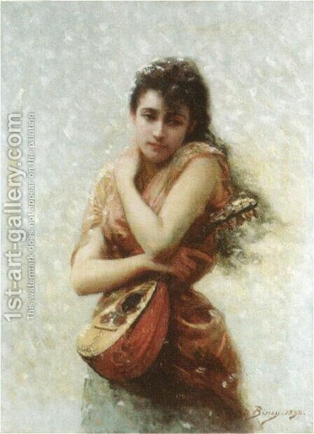 The Mandolin Player by Edouard Bisson - Reproduction Oil Painting