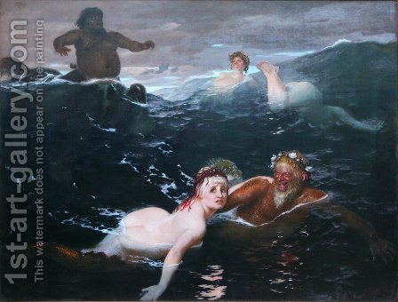 Playing in the Waves by Arnold Böcklin - Reproduction Oil Painting