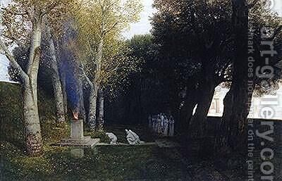 The Sacred Grove by Arnold Böcklin - Reproduction Oil Painting