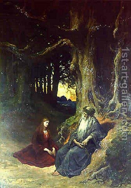 Viviane and Merlin in a Forest by Gustave Dore - Reproduction Oil Painting