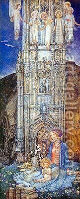 The Gothic Tower by Edward Reginald Frampton - Reproduction Oil Painting