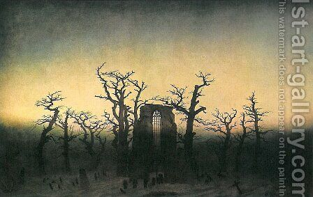 Abbey in the Oakwood by Caspar David Friedrich - Reproduction Oil Painting