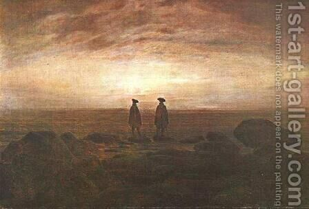 Two Men by the Sea at Moonrise by Caspar David Friedrich - Reproduction Oil Painting
