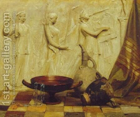 A skyphos, a kylix, a wine jug, and an Egyptian necklace before a Greek frieze, on marble tiles by Arthur Hacker - Reproduction Oil Painting
