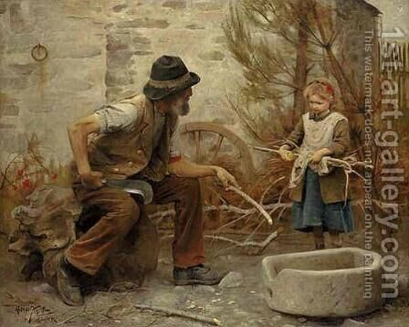 A woodcutter and his daughter by Arthur Hacker - Reproduction Oil Painting