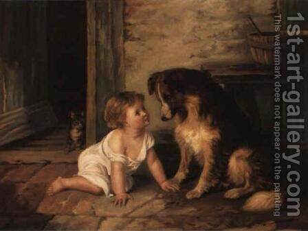 Making friends with a collie by Arthur Hacker - Reproduction Oil Painting