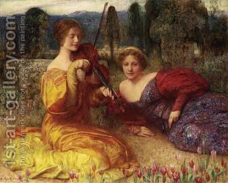 Musicienne du silence by Arthur Hacker - Reproduction Oil Painting