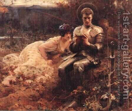 The Temptation of Sir Percival by Arthur Hacker - Reproduction Oil Painting