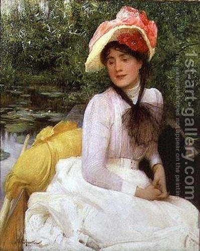 Young girl in a punt by Arthur Hacker - Reproduction Oil Painting