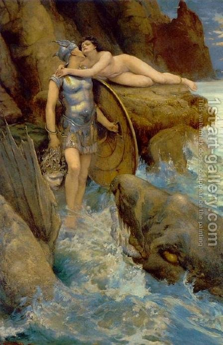 Perseus and Andromeda by Charles Napier Kennedy - Reproduction Oil Painting