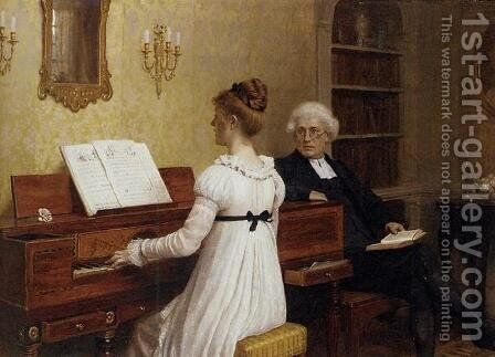 Singing to the Reverend by Edmund Blair Blair Leighton - Reproduction Oil Painting