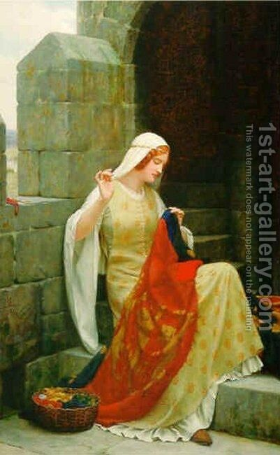 Stiching the Standard by Edmund Blair Blair Leighton - Reproduction Oil Painting
