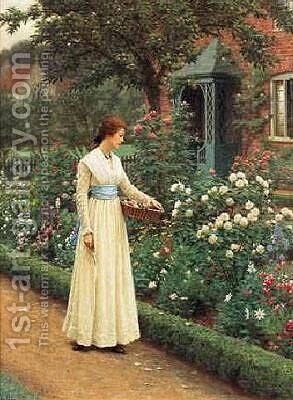 Summer Roses by Edmund Blair Blair Leighton - Reproduction Oil Painting