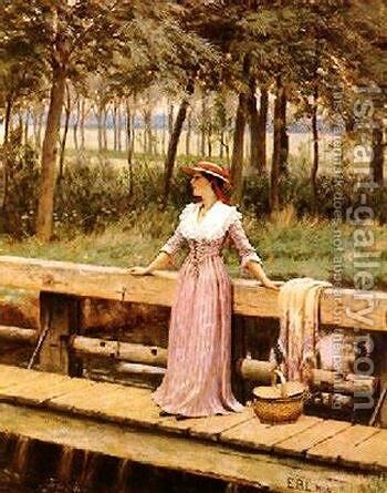 Waiting by Edmund Blair Blair Leighton - Reproduction Oil Painting
