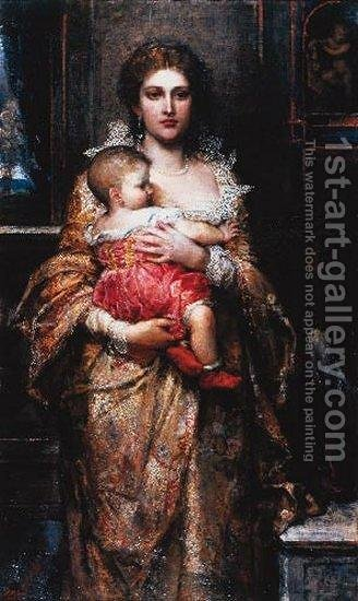 A Patrician Mother by Anna Lea Merritt - Reproduction Oil Painting