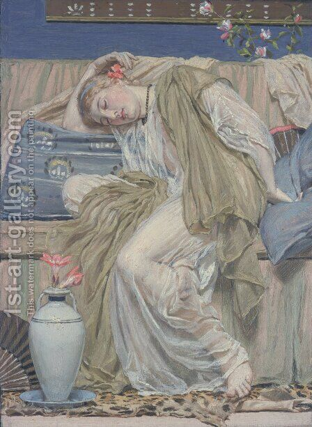 A Sleeping Girl by Albert Joseph Moore - Reproduction Oil Painting
