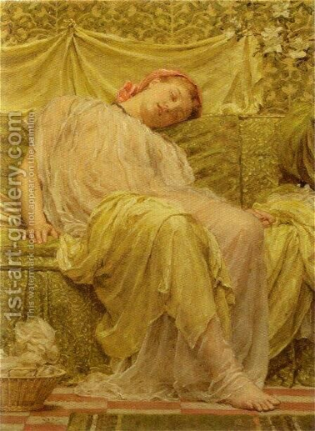 A Workbasket by Albert Joseph Moore - Reproduction Oil Painting