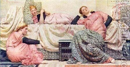 Reading Aloud by Albert Joseph Moore - Reproduction Oil Painting