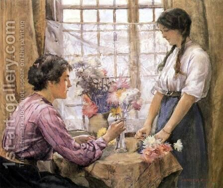 Arranging Flowers by Henry Meynell Rheam - Reproduction Oil Painting