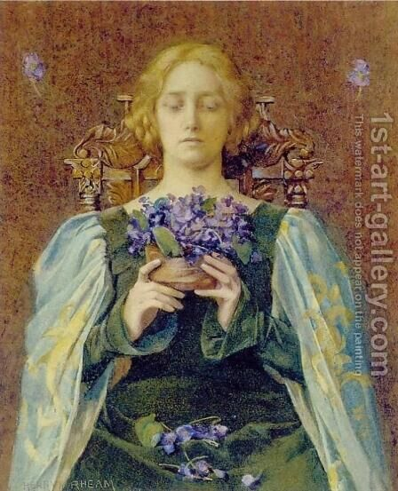 Violets by Henry Meynell Rheam - Reproduction Oil Painting