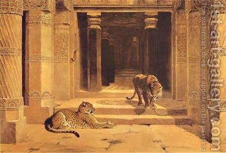 Temple Leopards by Briton Rivière - Reproduction Oil Painting