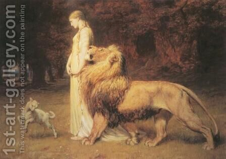 Una and the Lion by Briton Rivière - Reproduction Oil Painting