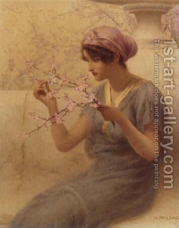 Almond Blossom by Henry Ryland - Reproduction Oil Painting