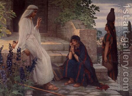 Christ at Bethany by Herbert Gustav Schmalz - Reproduction Oil Painting
