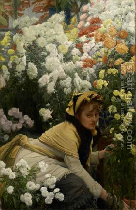 Chrysanthemums by James Jacques Joseph Tissot - Reproduction Oil Painting