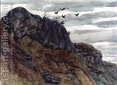 Crows above a Cliff by Adam Chmielowski - Reproduction Oil Painting