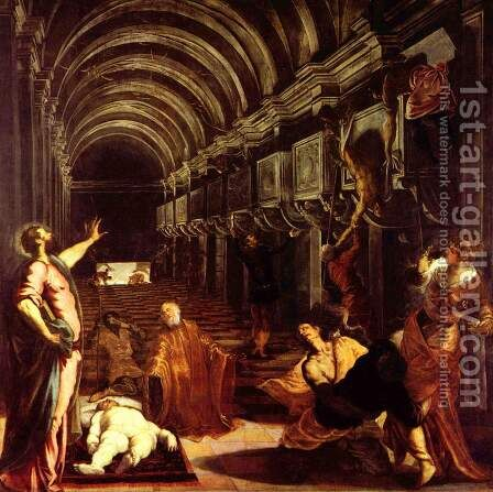 Finding of the Body of St. Mark (Ritrovamento del corpo di san Marco) by Jacopo Tintoretto (Robusti) - Reproduction Oil Painting