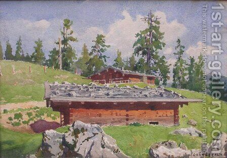 Grunsee Alm by Angelo Graf von Courten - Reproduction Oil Painting