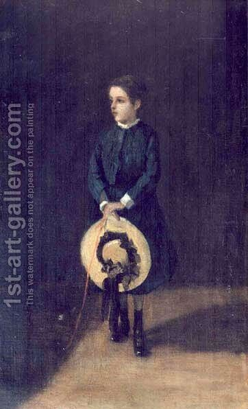 Girl with a Hat- Portrait of Janina Chojecka by Adam Chmielowski - Reproduction Oil Painting