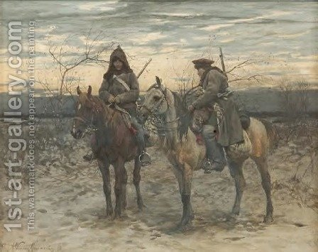 Patrol on Horses by Alfred Wierusz-Kowalski - Reproduction Oil Painting