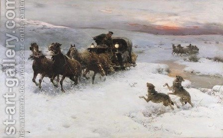 Attack of Wolves I by Alfred Wierusz-Kowalski - Reproduction Oil Painting
