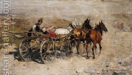 Troika on a Dusty Road by Alfred Wierusz-Kowalski - Reproduction Oil Painting