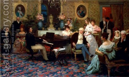 Chopin Playing the Piano in Prince Radziwill's Salon, 1887 by Henryk Hector Siemiradzki - Reproduction Oil Painting