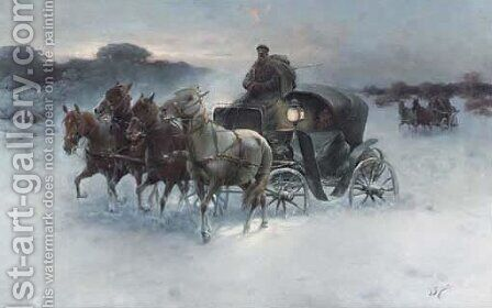 Foursome in Winter by J. Konarski - Reproduction Oil Painting