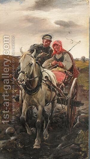 Couple on a Cart by J. Konarski - Reproduction Oil Painting