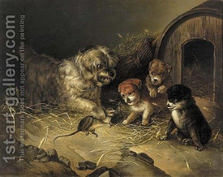 Rat wit a Dog and Three Puppies by Aleksander Stankiewicz - Reproduction Oil Painting