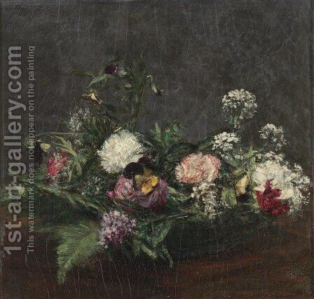 Flowers I 2 by Ignace Henri Jean Fantin-Latour - Reproduction Oil Painting