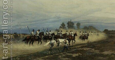 Russian Lancers by Antoni Piotrowski - Reproduction Oil Painting