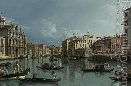 Grand Canal, Looking North from the Palazzo Contarini Dagli Scrigni to the Palazzo Rezzonico by Bernardo Bellotto (Canaletto) - Reproduction Oil Painting