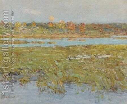 Harvest Moon (Marsh and Meadow) by Childe Hassam - Reproduction Oil Painting