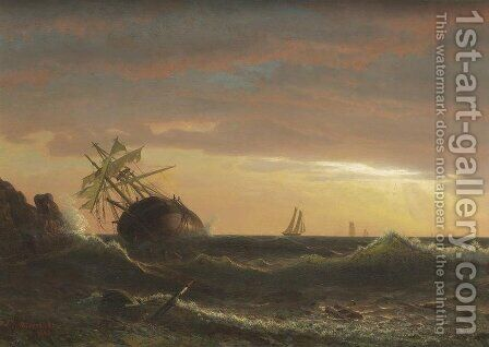 Beached Ship by Albert Bierstadt - Reproduction Oil Painting