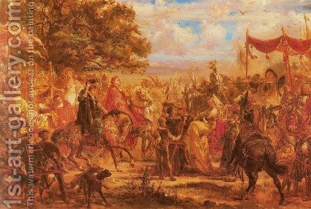 Meeting of Jagiellonians with Emperor Maximilian at Vienna Conference of Kings 1515 by Jan Matejko - Reproduction Oil Painting