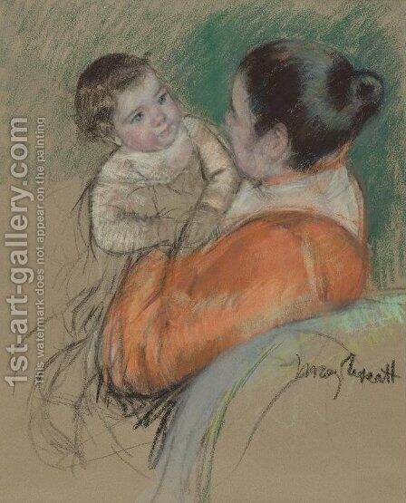 Mother Louise Holding up her Blue-Eyed Child by Mary Cassatt - Reproduction Oil Painting