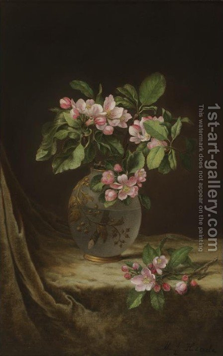 Apple Blossoms in an Opalescent Vase by Martin Johnson Heade - Reproduction Oil Painting