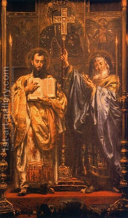 St. Cyril and St. Methodius I by Jan Matejko - Reproduction Oil Painting